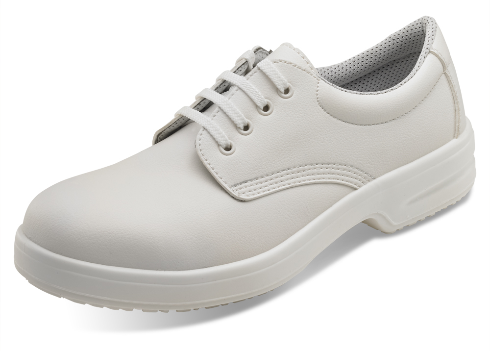 B-Click D211 Micro-Fibre S1 Safety Tie Shoe White