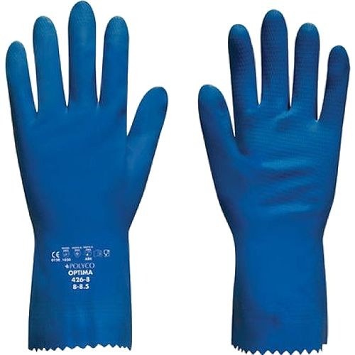 Polyco Optima 427 Latex with Soft Cotton Flock Lining Blue Glove