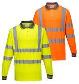 Portwest S271 Men Hi Vis Work Polo Long Sleeve