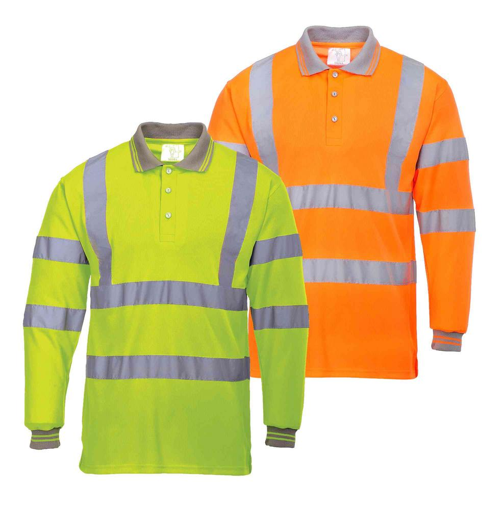 Portwest S277 Long Sleeve Reflective Tapes Safety Hi Vis Work Polo