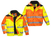 Portwest S4624 Contrast Plus Men Hi Vis Rain Bomber Jacket