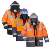 Portwest S4627 Waterproof Quilted Parka RIS Hi Vis Two Tone Jacket