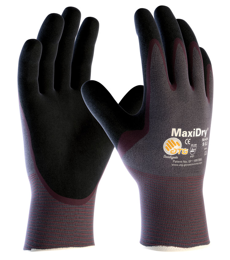 ATG MaxiDry 56-424 Lightweight Oil Repellent Nitrile Grip Glove