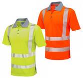Leo Workwear P03 Woolacombe Men Hi Vis Polo Shirt Short Sleeve