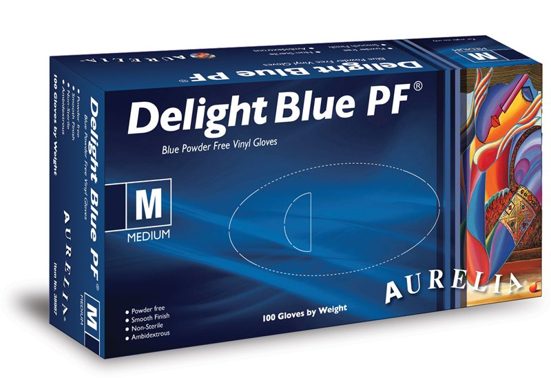 Aurelia Delight Blue PF Disposable Vinyl Gloves Powder Free 100 box