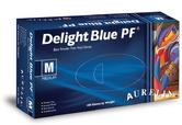 Aurelia Delight Blue PF Disposable Vinyl Gloves Powder Free 100 box