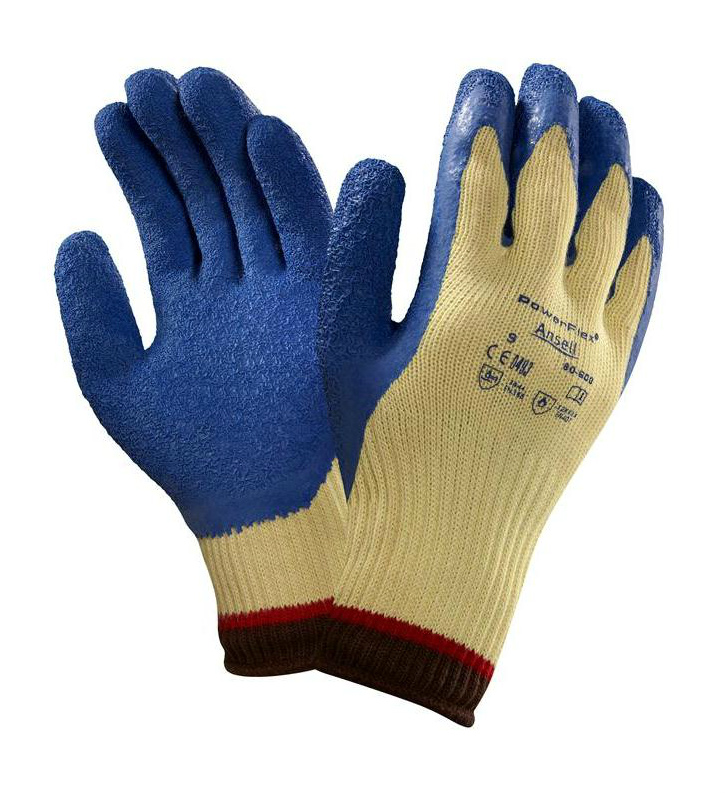 Ansell ActivArmr 80-600 Cut 4 Resistant Kevlar Lined Work Gloves Natural Latex Coating