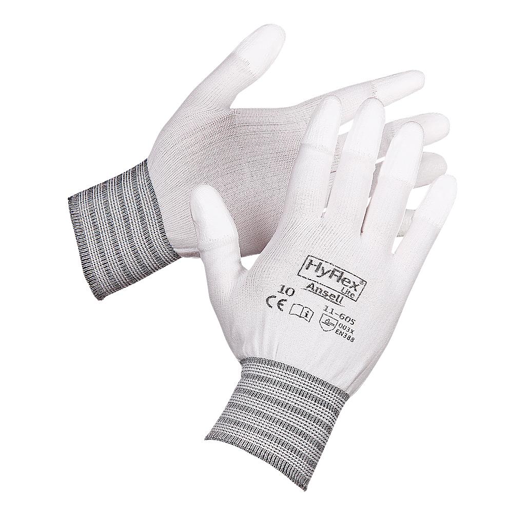 Ansell HyFlex 11-605 Polyurethane Fingertip Coating Nylon Glove, Size - 9