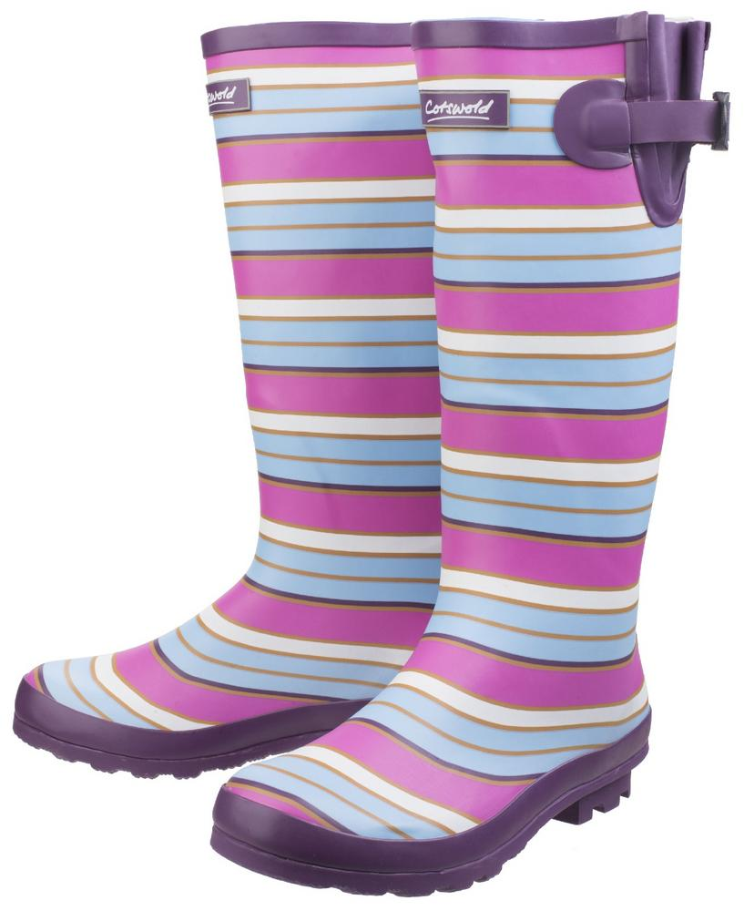 Cotswold Wadeberry Ladies Natural Rubber Stripy Wellington Boots