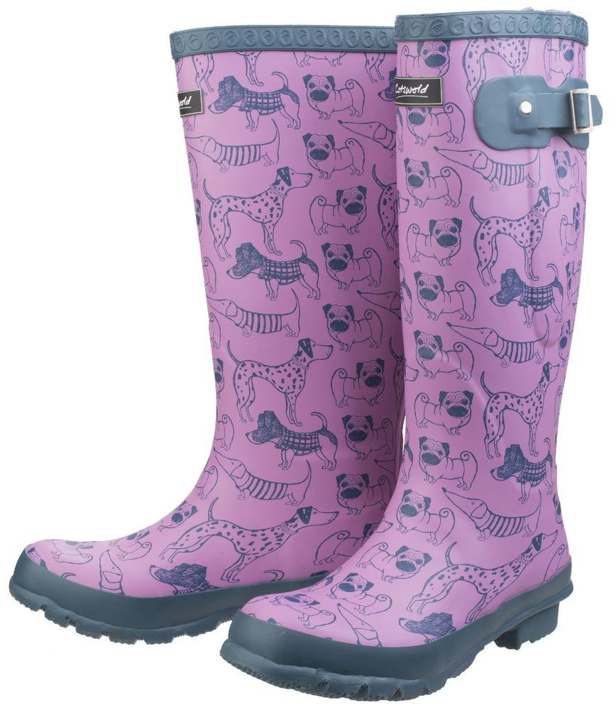 Cotswold Windsor Ladies Dog Print Wellington Boots