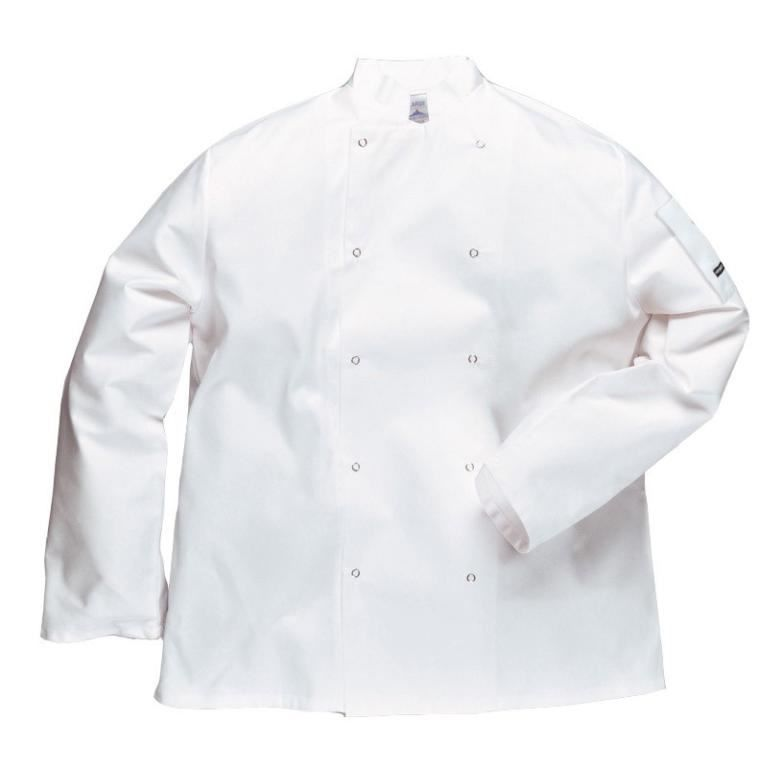 Portwest Suffolk Unisex Chefs Jacket C833 Front Studs White