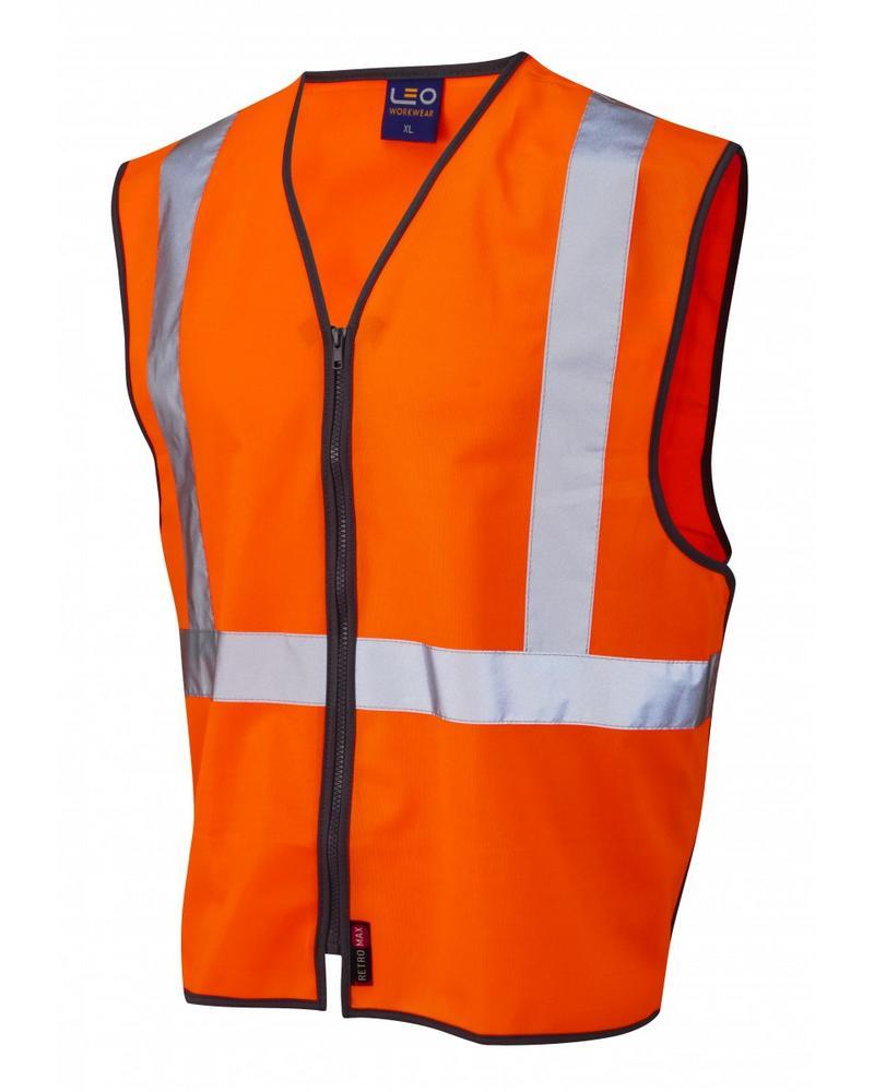 Leo Workwear Eggesford Hi-Vis Orange Railway Zip Waistcoat GO/RT 3279
