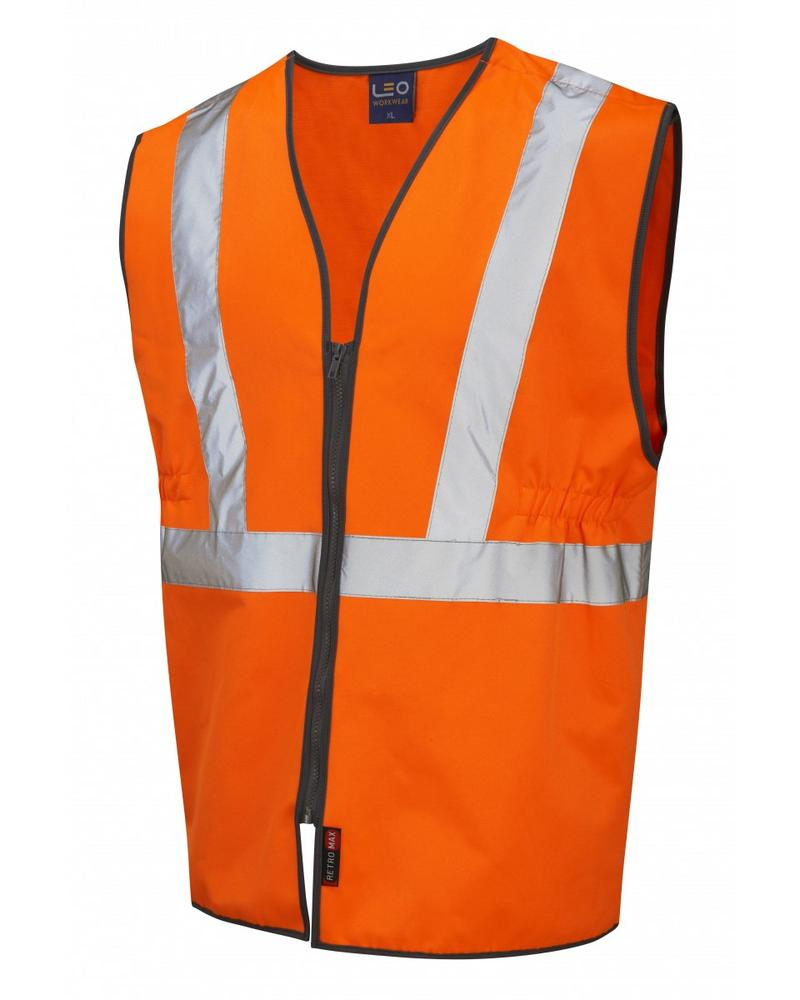 Leo Workwear Copplestone Hi-Vis Orange Railway Plus Waistcoat GO/RT