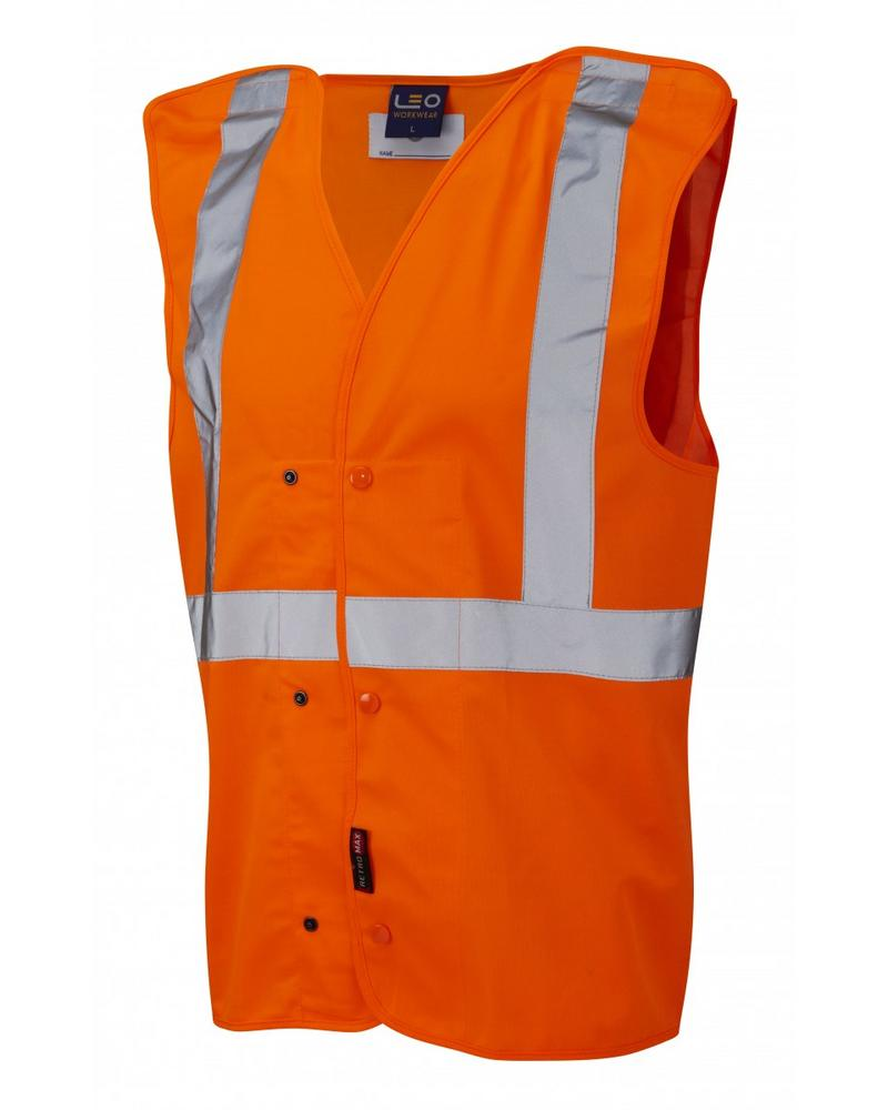 Leo Workwear Chapelton Hi-Vis Orange Railway Group Standard Underground Waistcoat
