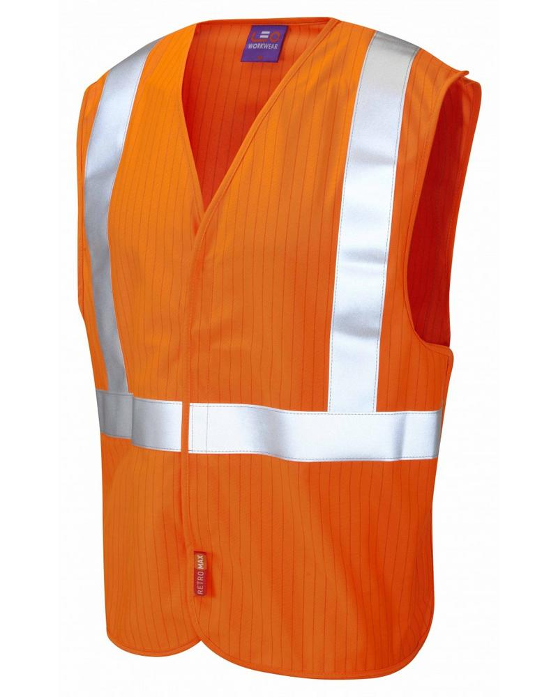 Leo Workwear Muddiford Hi-Vis Orange Anti-Static & Flame Retardant Lfs Railway Waistcoat