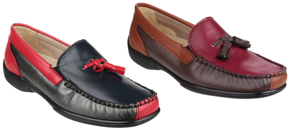 Cotswold Biddlestone Ladies Slip-On Loafer Shoes Wide Fit Moccasin