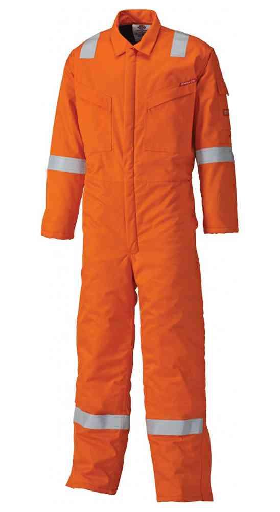 Dickies Firechief FR5055 Flame Retardant Hi Vis Otange Boilersuit Work Coverall 220gsm