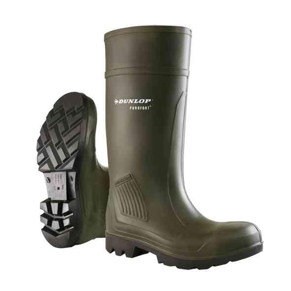 Dunlop Hevea Purofort Antibacterial Lining Non Safety Wellington - Green