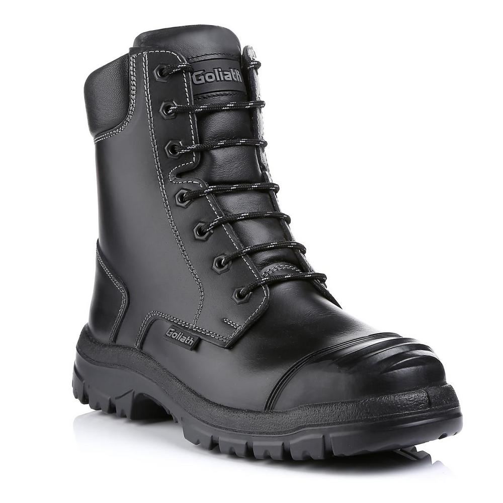 Goliath Groundmaster Combat Boot with side zip waxed Buffalo Leather - Black