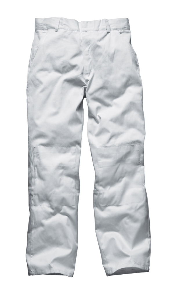 Dickies WD824 100% Cotton Knee Pad Pockets Painter Work Trousers - White