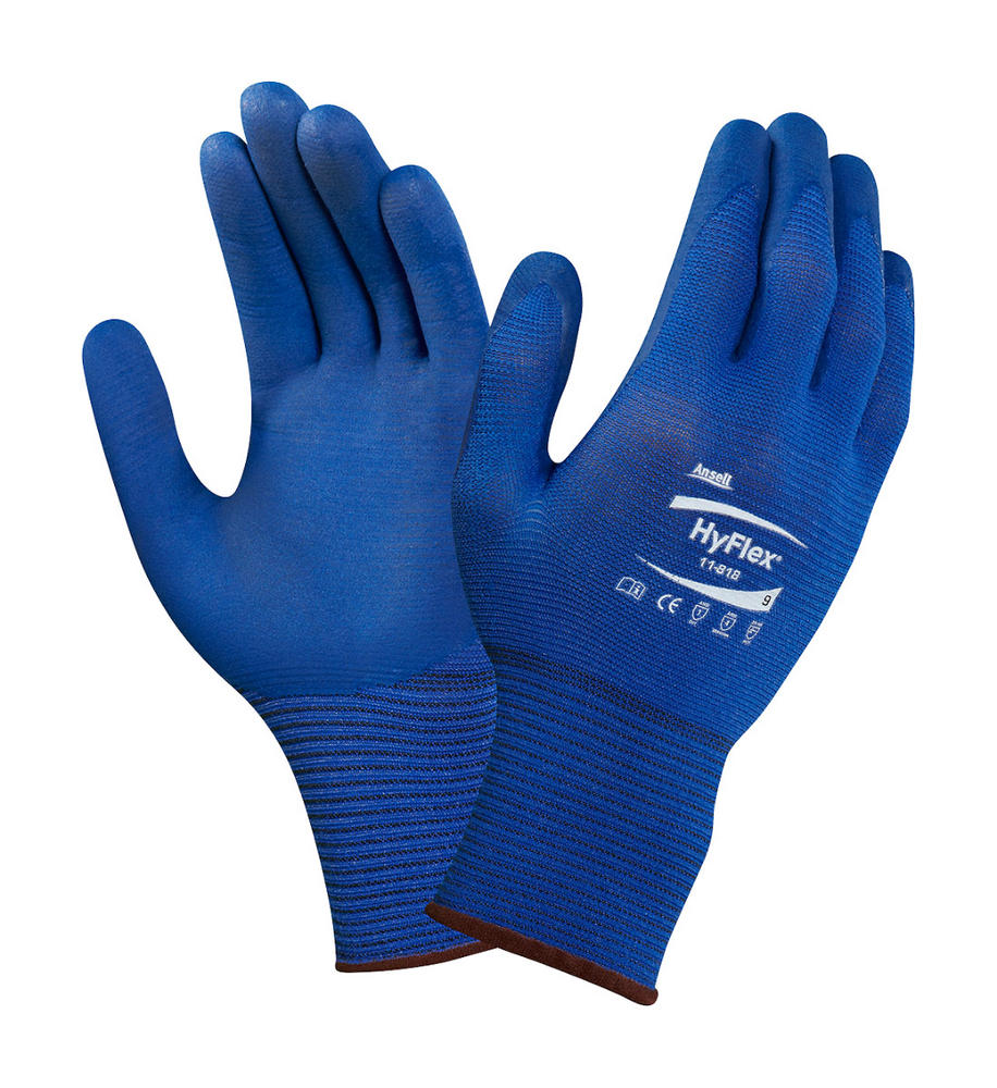 Ansell 11-818 HyFlex Nylon FORTIX Nitrile Foam Coating Work Gloves 4.1.2.1