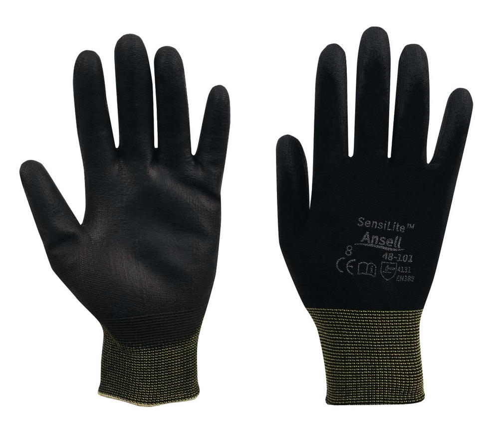 Ansell Sensilite HyFlex 48-101 Nylon Liner Polyurethane Palm Coated Work Gloves