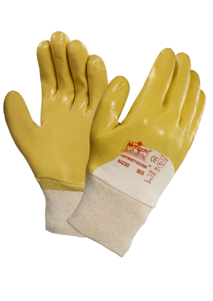 Ansell Nitrotough N230Y Nitrile Coated Cotton Liner Work Gloves