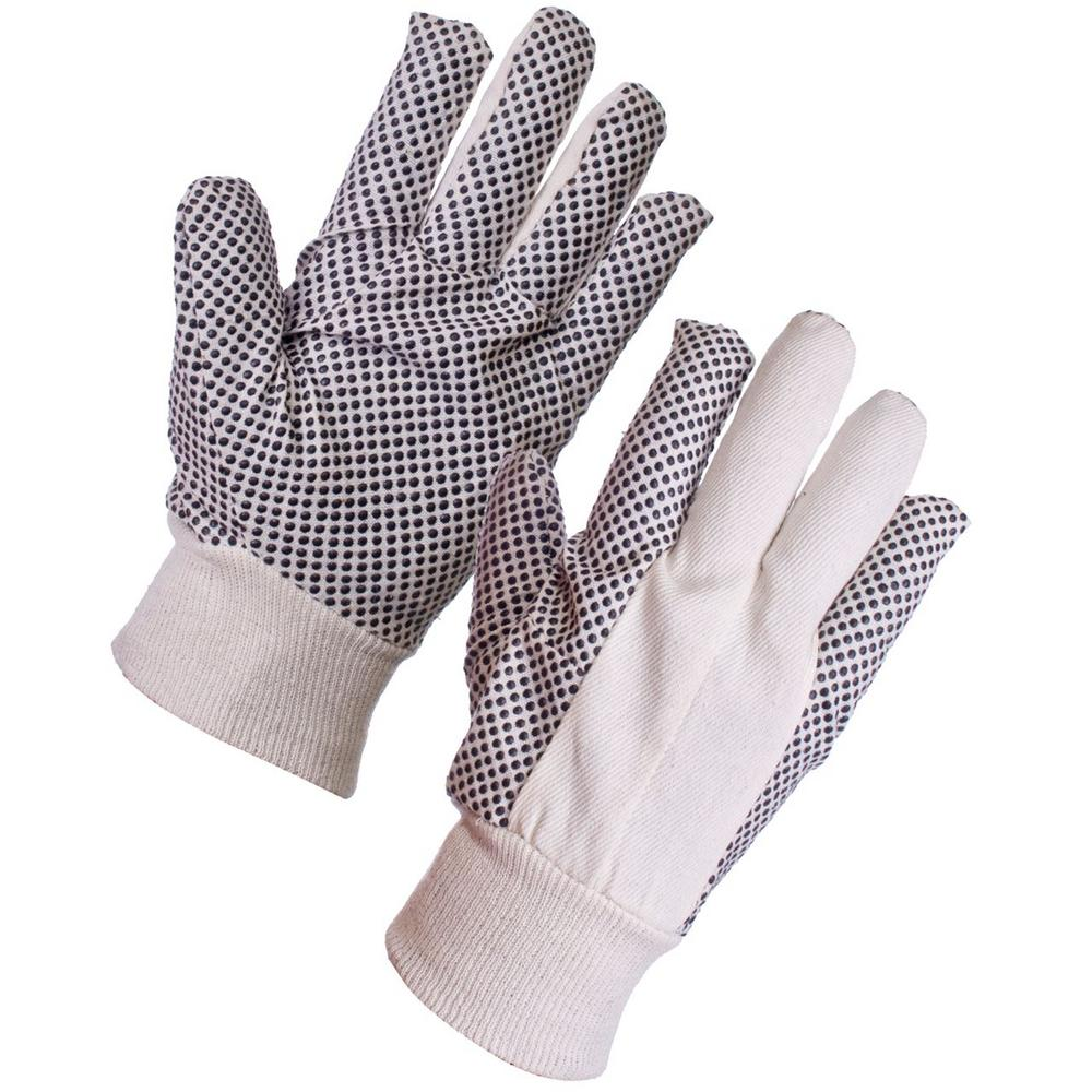 10 Pairs General Handling Polka Dot Gloves Cotton Canvas Size 9 - Large