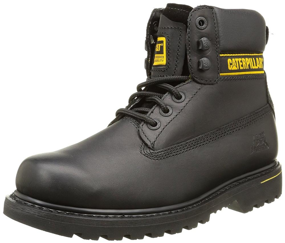 Caterpillar CAT Holton OB Men's Non-Safety Lace up Leather Work Boots Black