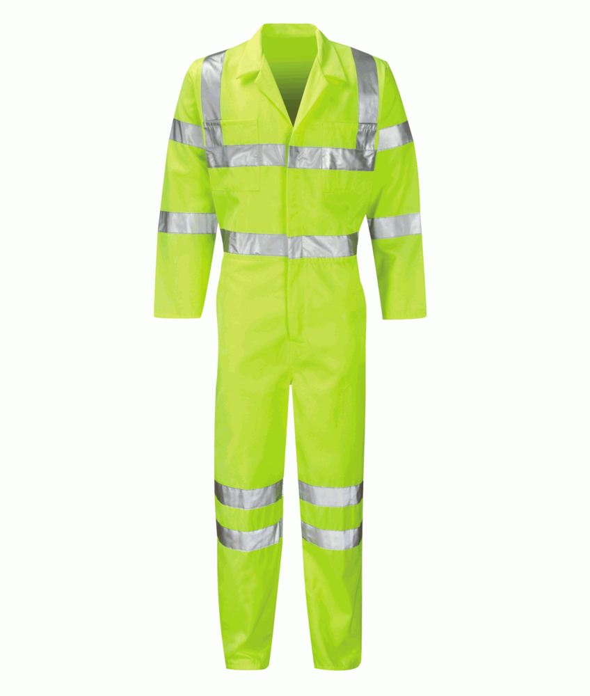 Orbit International Sigma Men Hi Vis Coverall Neon Yellow Polycotton Overall