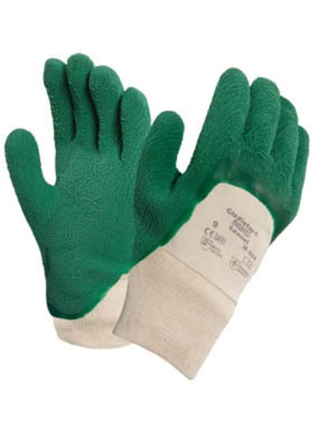 Ansell 16-500 Gladiator Natural Rubber Coating on Interlock Liner Work Gloves