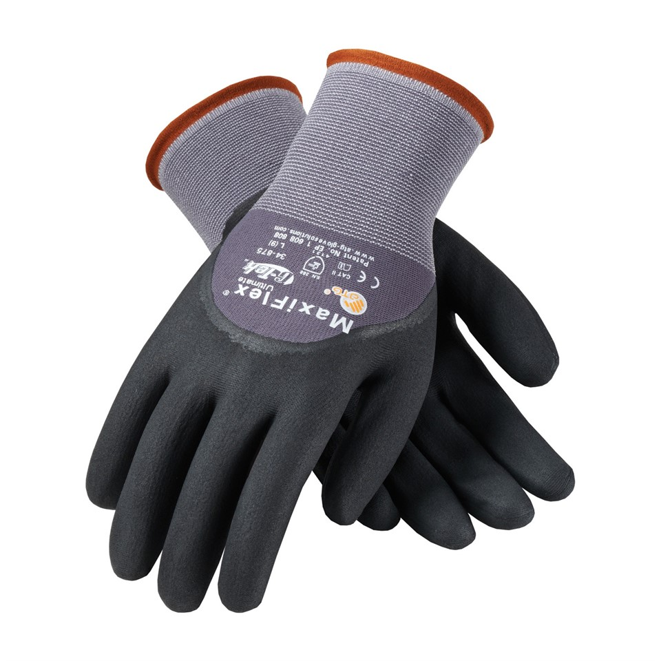 ATG Maxiflex 34-875 Ultimate Men Work Gloves Micro Foam 3/4 Nitrile Coating, Size - 10