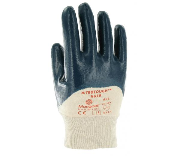 Ansell Nitrotough N630 Men Work Gloves Cotton Liner Nitrile 3/4 Coating Size 9