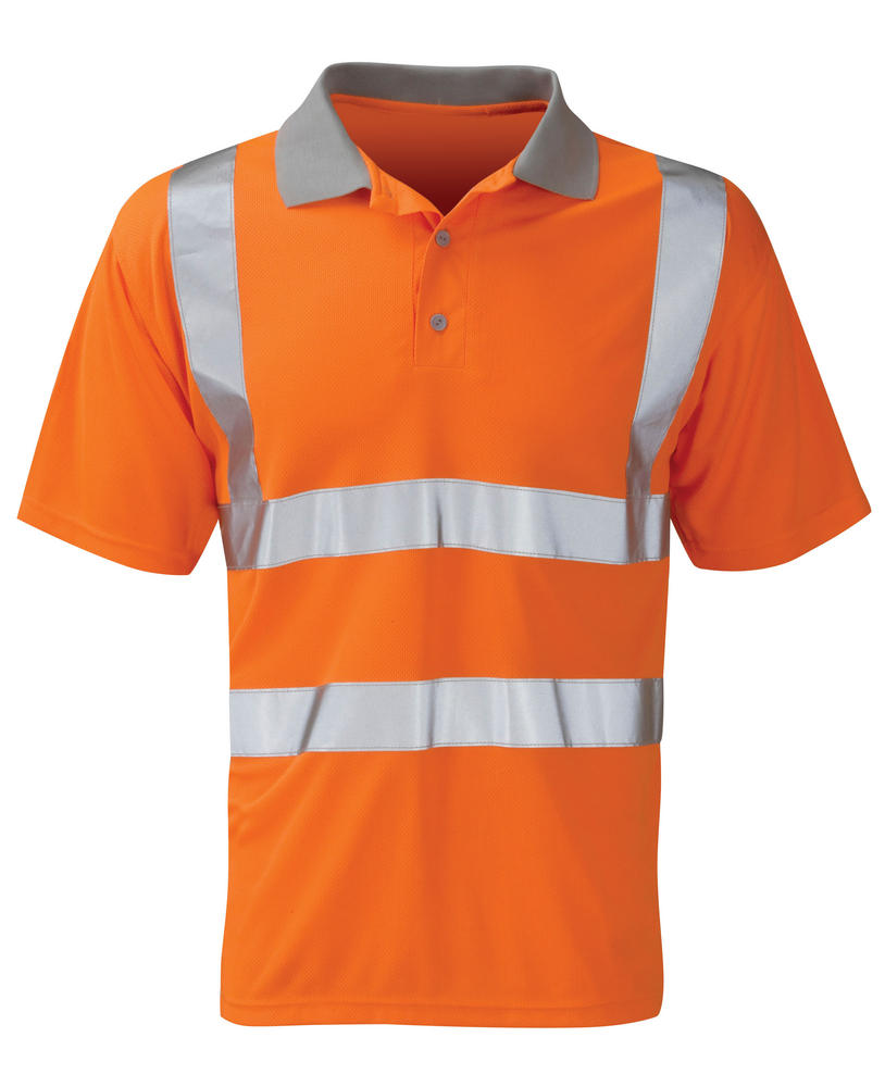 Orbit HVPS03R Mercury Polyester Reflective Bands Rail Workwear Orange Hi Vis Polo Shirt