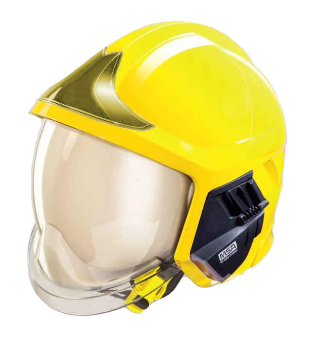 MSA Gallet F1 XF Fire Helmet Double Visor And Neck Curtain Firefighter's Hard Hat Yellow