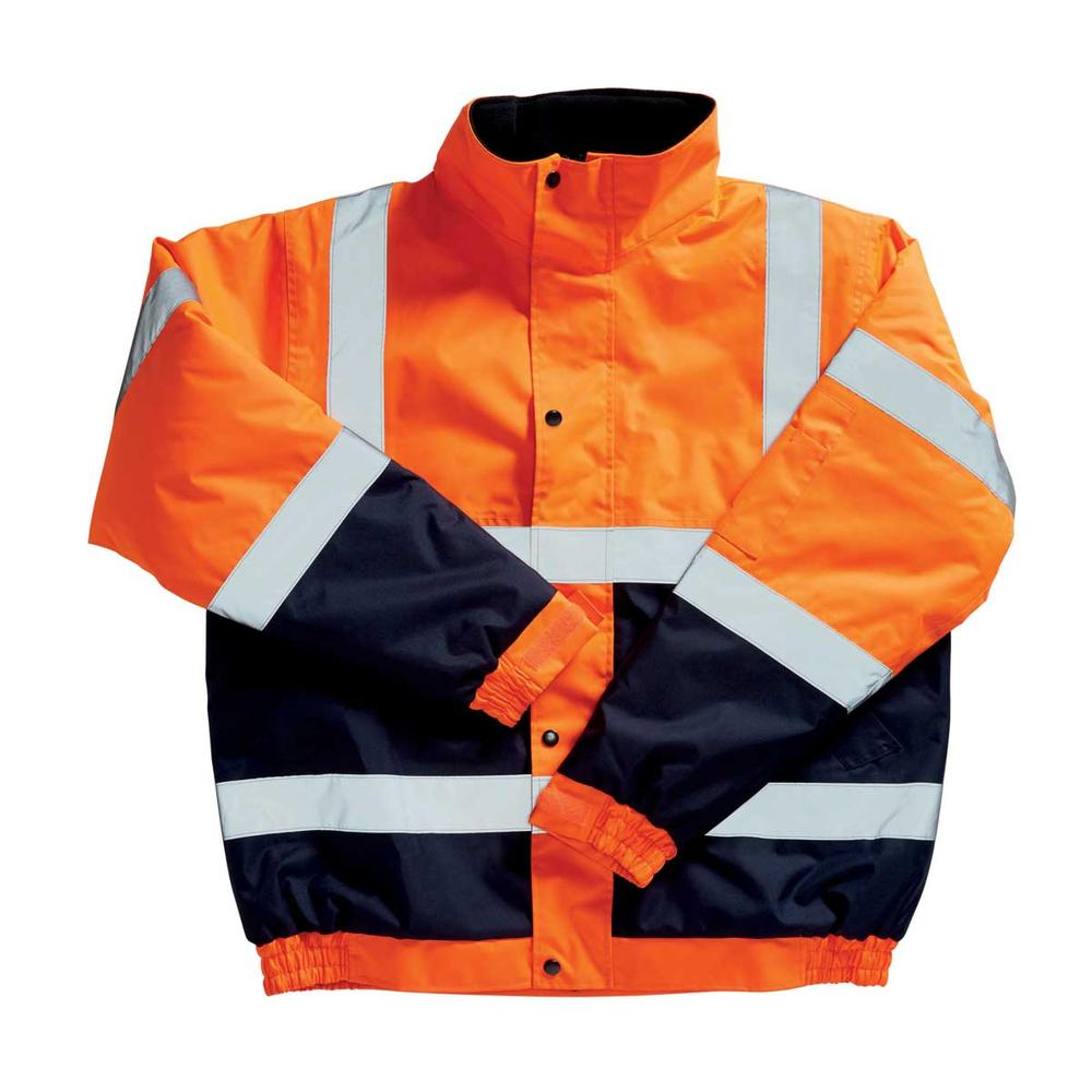 Blackrock Men High Visibility Jacket Water Resistant Two Tone Bomber Orange and Navy