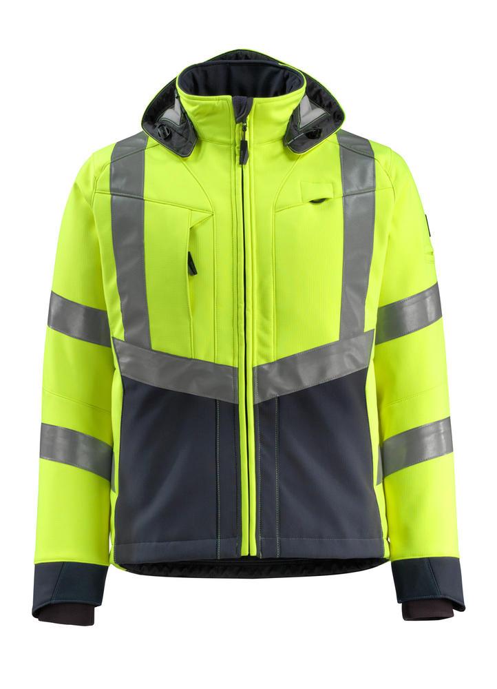 Mascot 15502-246 Blackpool Hi Vis Breathable Water-Repellent Rain Softshell Jacket