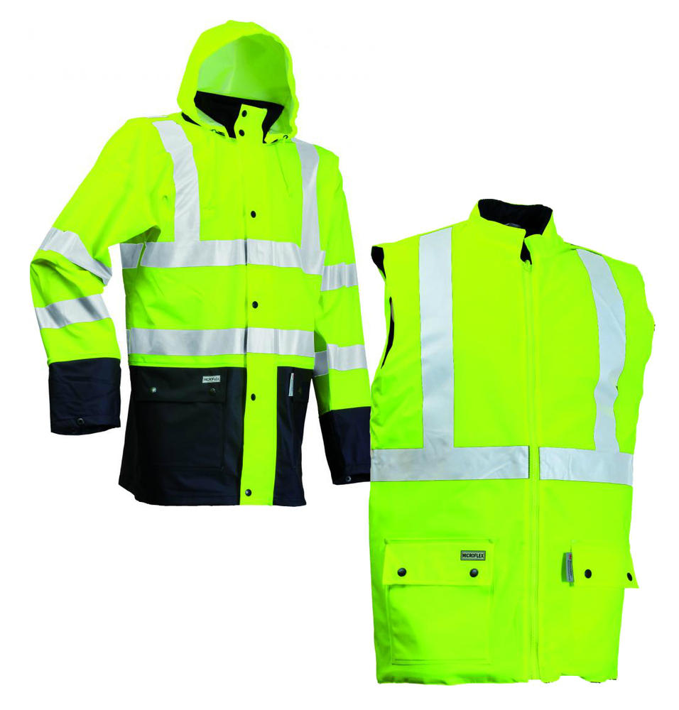 Lyngsoe Rainwear LR4379-53 Hi-Vis Waterproof Breathable Jacket & Waistcoat Saturn Yellow, Size - Large