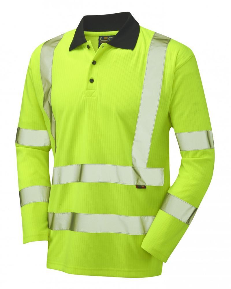 Leo Workwear Swimbridge Hi Vis Poly\Cotton Sleeved Polo Shirt