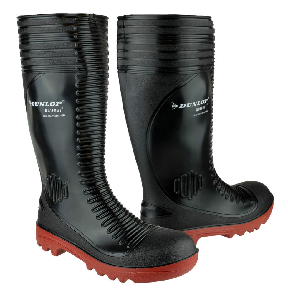 Dunlop Acifort A252931 Steel Toe Caps Ribbed SB-P Full Safety Wellingtons
