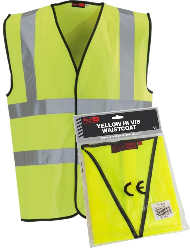 Blackrock BRHVV Hi Vis Waistcoat Packaged Sleeveless Vest - Yellow