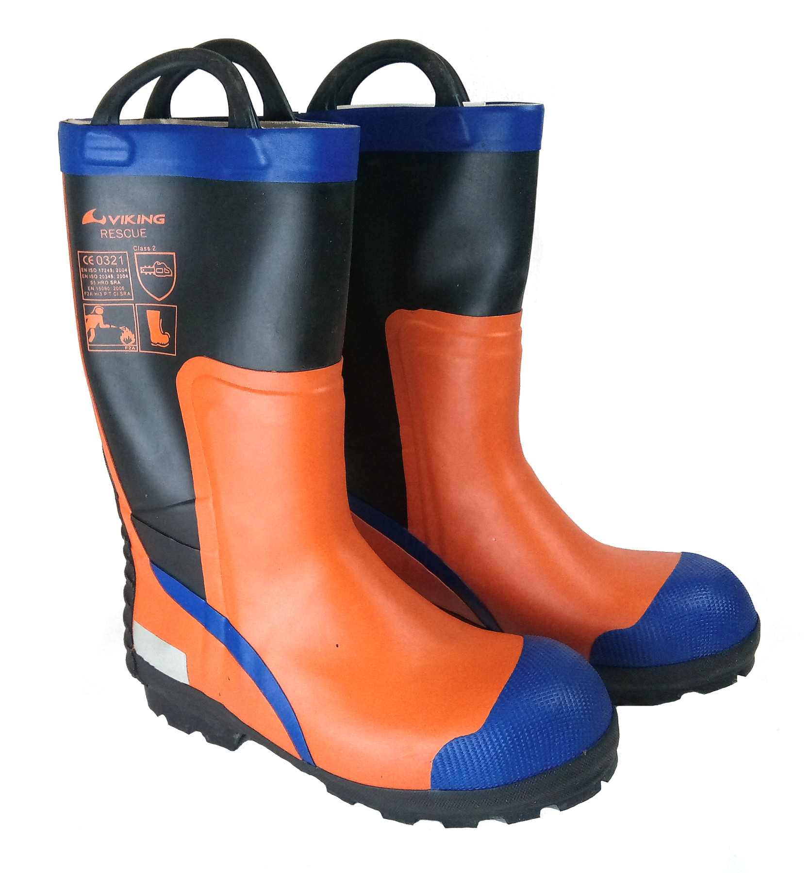 32bdceb0e89 Viking Rescue Chainsaw Protection Firefighter Orange Hi-Vis Safety Boots,  Size - 11