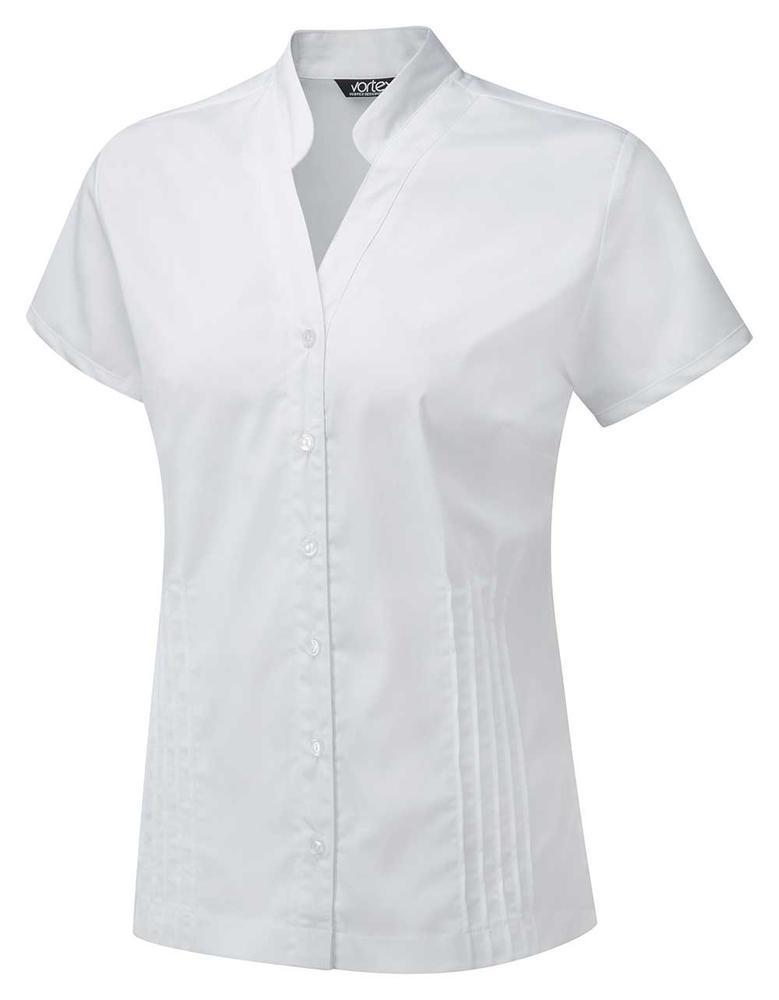 Vortex Design Mia Ladies Short Sleeve White Work Blouse