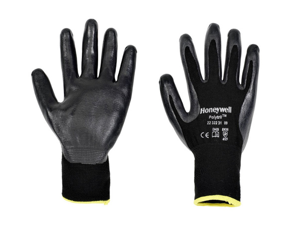 Honeywell Watertight Nitrile Polytril Black Grip Glove 2232231