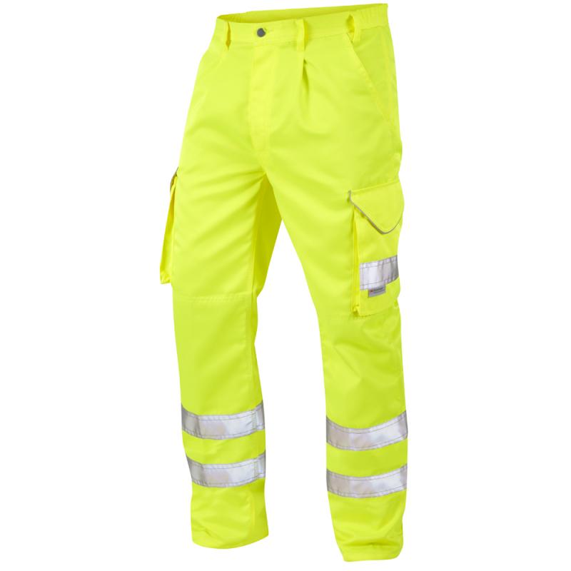 Leo Workwear CT01 Bideford Hi Vis Cargo Trousers Yellow