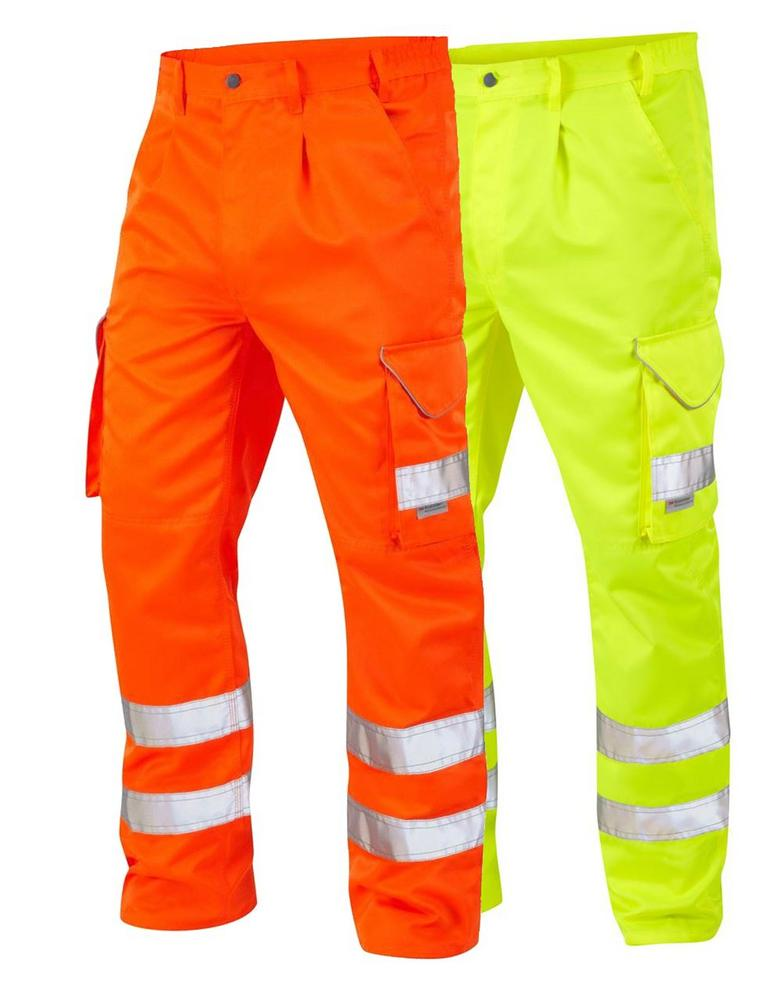 Leo Workwear Bideford CT01-Y Hi Vis Cargo Knee Pad Trousers - Yellow or Orange