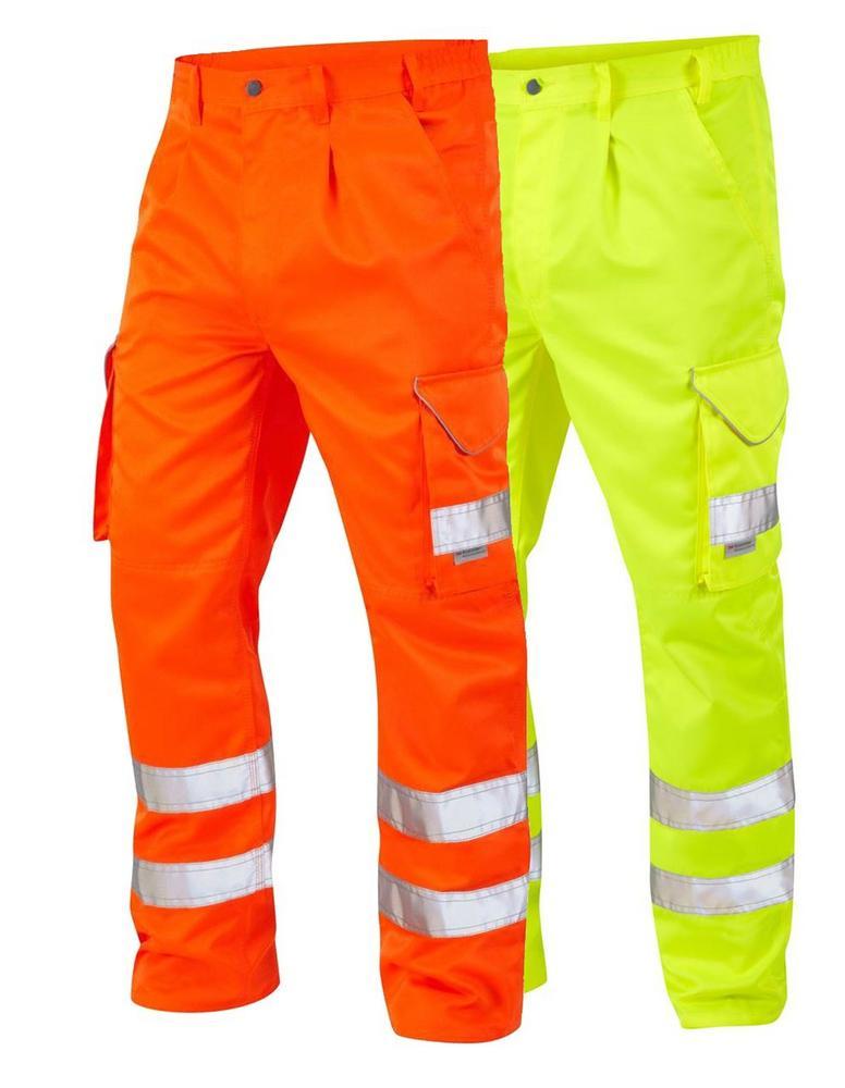 Leo Workwear Bideford CT01 Hi Vis Cargo Knee Pad Trousers - Yellow CT01-Y or Orange CT01-O
