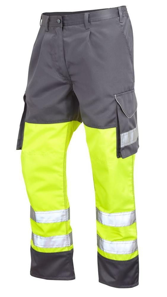Leo Workwear Bideford CT01-Y/GY Hi Vis Knee Pad Cargo Trousers - Yellow & Grey