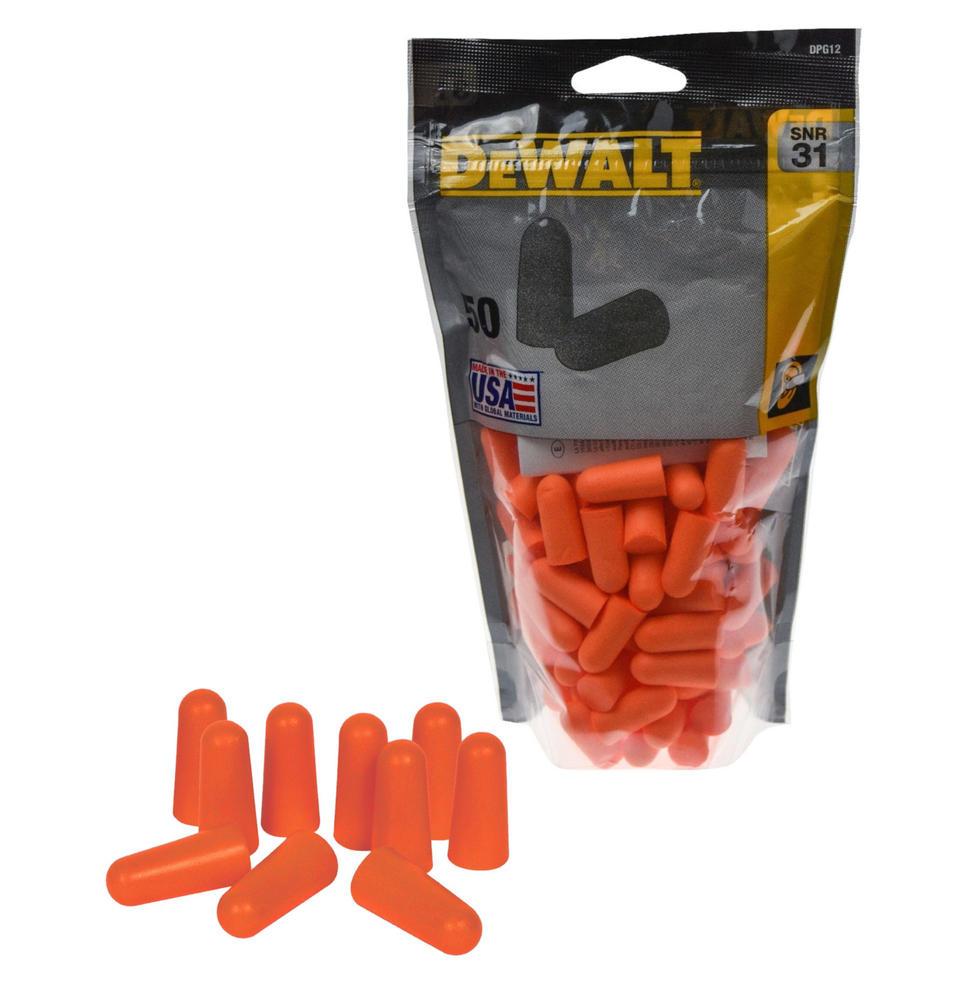DeWALT Ultra-Soft Premium Disposable Foam Earplugs 50 Pairs SNR=31dB