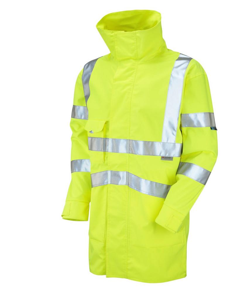 Leo Workwear Clovelly A04-Y Hi Vis Windproof Waterproof Breathable Executive Anorak - Yellow